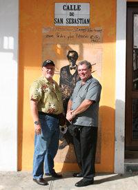 Jorge Seijo y yo cuando transmitimos desde las Fiestas De La Calle San Sebastián